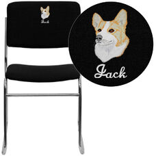 Embroidered HERCULES Series 1000 lb. Capacity Black Fabric High Density Stacking Chair with Chrome Sled Base