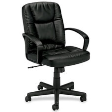 Basyx Mid-Back Management Chair with Fixed Loop Arms - Black Leather