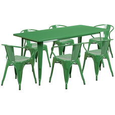 "Commercial Grade 31.5"" x 63"" Rectangular Green Metal Indoor-Outdoor Table Set with 6 Arm Chairs"