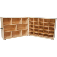 Wooden Folding Mobile Storage Unit with 25 Orange Plastic Trays - 96