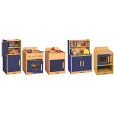 Colorful Essentials 5 Piece Full Preschool Kitchen Play Station Set - Blue