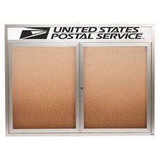 2 Door Indoor Illuminated Enclosed Bulletin Board with Header and Aluminum Frame - 48