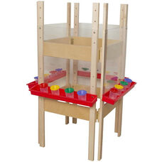 4 Sided Adjustable Board Height Acrylic Easel with Attached Trays - 25