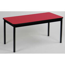 High Pressure Laminate Rectangular Library Table with Black Base and T-Mold - Red Top - 24