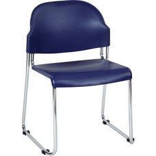 Work Smart Stack Chair with Plastic Seat and Back - Set of 2 - Blue