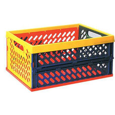 Brightly Colored Large Stackable Vented Collapsible Crates with Built-in Handles