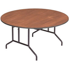 Round Sealed and Stained Plywood Top Table with Vinyl T - Molding Edge - 60