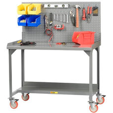 Mobile Welded Workbench with Pegboard and 5
