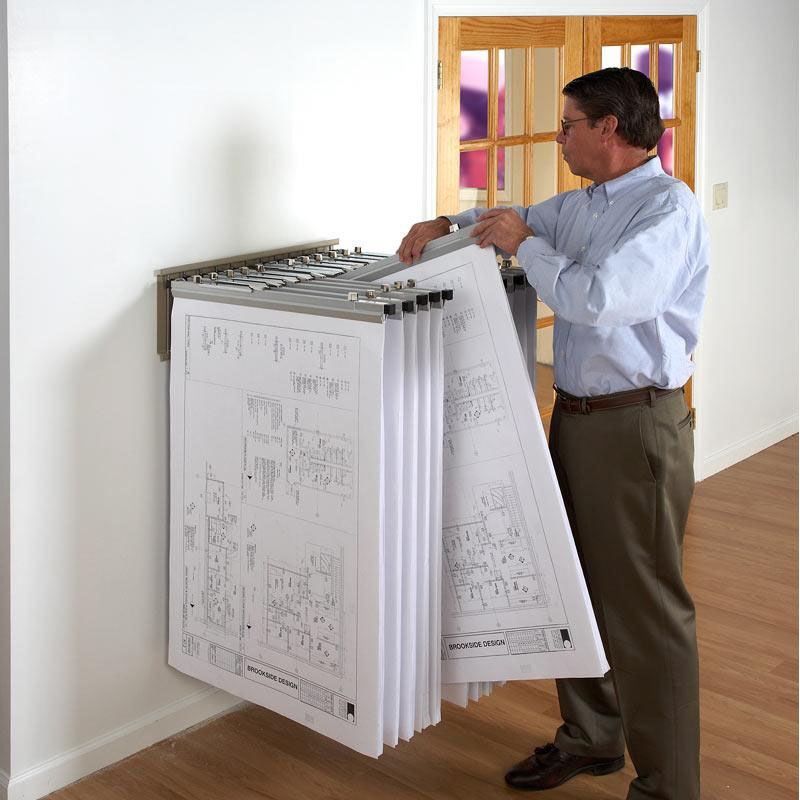 Our Blueprint Storage Pivot Wall Rack With 12 Chrome Pivot Hangers Is On  Sale Now.