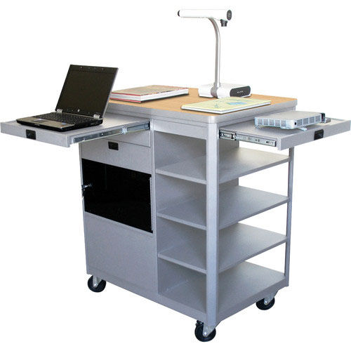 Our Vizion Presenter Multimedia Cart with Acrylic Doors and Four Side Shelves - Kensington Maple Laminate is on sale now.