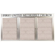 3 Door Outdoor Illuminated Enclosed Bulletin Board with Header and Aluminum Frame - 36