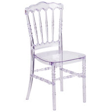 "Flash Elegance Crystal Ice Stacking Napoleon Chair with <span style=""color:#0000CD;"">Free </span> Cushion"