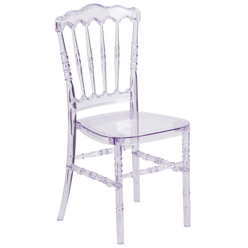 """Flash Elegance Crystal Ice Stacking Napoleon Chair with <span style=""""color:#0000CD;"""">Free </span> Cushion"""