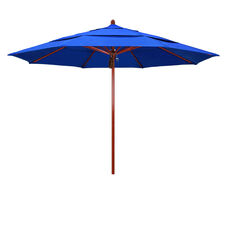 11 Ft. Fiberglass Market Umbrella with Pulley Lift and Double Wind Vent - Wood Look Finish