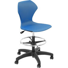 Apex Series Plastic Height Adjustable Swivel Stool with Foot Rest and 5 Star Base - Blue Seat - 21