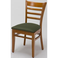 4500 Series Wood Frame Armless Cafe Chair with Contoured Ladder Back and Upholstered Seat