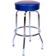 50's Retro Backless 30''H Swivel Bar Stool with Chrome Frame and Padded Seat - Blue Vinyl