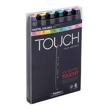 ShinHan Art TOUCH Twin 6-Piece Pastel Colors Marker Set