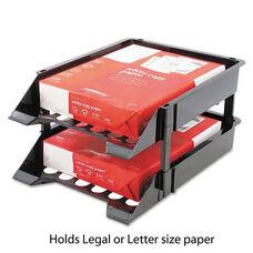 Deflecto® Super Tray Unbreakable Countertop Tray Set - Two Tier - Plastic - Black