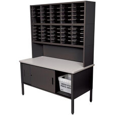 Mailroom 60'' W x 30'' D x 76'' H Literature Organizer with Riser and Cabinet with 50 Adjustable Slots - Black