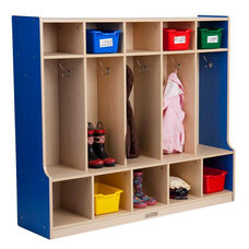Color Essentials Five Section 10 Hook Coat Locker with Bench and 10 Cubbies - Blue Side Panels