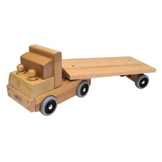 Solid Wood Transport Vehicle - Flat Bed Truck with Turning Bed and Two Solid Wood Drivers