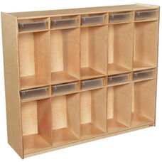 Wooden Ten Section Locker Unit with 10 Clear Plastic Letter Trays - 58