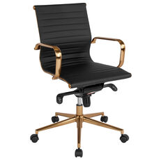Mid-Back Black Ribbed Leather Executive Swivel Chair with Gold Frame, Knee-Tilt Control and Arms