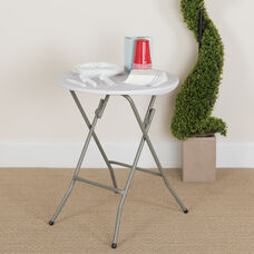 2-Foot Round Granite White Plastic Folding Table