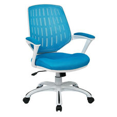 Ave Six Calvin Mesh Office Chair with White Frame and Fabric Padded Seat and Arms - Blue