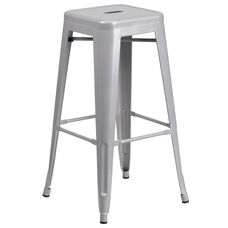 """Commercial Grade 30"""" High Backless Silver Metal Indoor-Outdoor Barstool with Square Seat"""