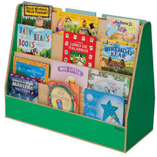 Green Apple Double Sided Rolling Book Display with Eight Shelves and Heavy Duty Casters - Assembled - 34