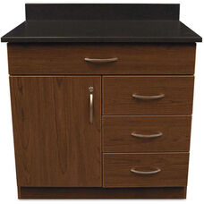 Alera Plus™ Hospitality Base Cherry Laminate Cabinet with Four Drawers and Single Door - 36