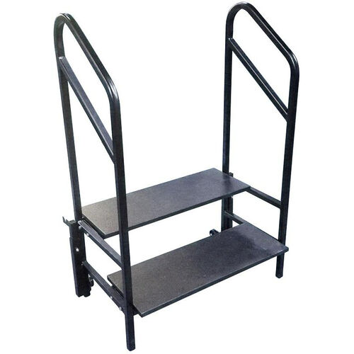Our Portable 2 Step Stage and Seated Riser with Heavy - Gauge Frame and Handrail - 36