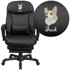 Embroidered High Back Black Leather Executive Reclining Ergonomic Swivel Office Chair with Coil Seat Springs & Arms