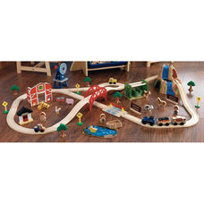 Kids Wooden Farm Train and Track Play Set Includes 75 Pieces