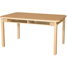 Four Seater High Pressure Laminate Desk with Hardwood Legs - 48