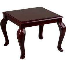 Work Smart Solid Wood Queen Ann Traditional End Table - Mahogany