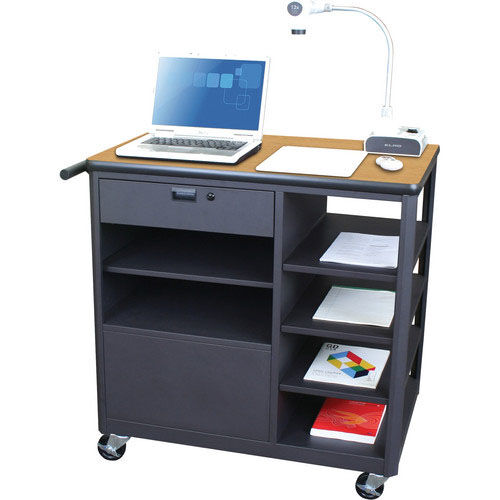 Our Vizion Presenter Mobile Teacher Workstation with Acrylic Door and Four Side Shelves - Oak Laminate is on sale now.