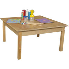 Solid Hardwood Square Table with Rounded Child Safe Corners and Non-Toxic Natural Finish - 36