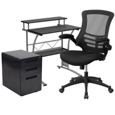 Work From Home Kit - Black Computer Desk, Ergonomic Mesh Office Chair and Locking Mobile Filing Cabinet with Inset Handles