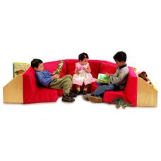 5 Section Birch Reading Nook with Book Storage Shelving in Back and Comfy Seating