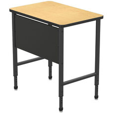 Apex Series Height Adjustable Stand Up Desk with PVC Edge - Fusion Maple Top with Black Edge and Legs - 36