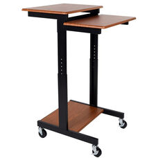 Adjustable Height Mobile Presentation Workstation with 3 Teak Laminate Shelves - 24