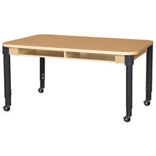Mobile Four-Seater Classroom High Pressure Laminate Desk with Adjustable Steel Legs - 60