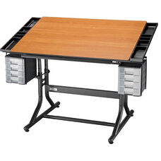 CraftMaster II Deluxe Art, Drawing, and Hobby Table - Cherry Top