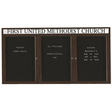 3 Door Outdoor Enclosed Directory Board with Header and Bronze Anodized Aluminum Frame - 36