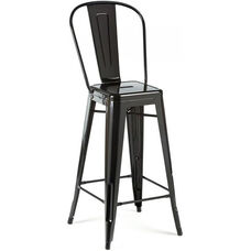 Dreux Glossy Black Steel High Back Armless Barstool - Set of 4