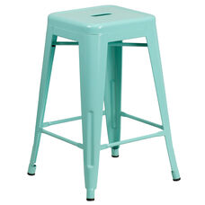 """Commercial Grade 24"""" High Backless Mint Green Indoor-Outdoor Counter Height Stool"""