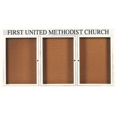 3 Door Indoor Illuminated Enclosed Bulletin Board with Header and White Powder Coated Aluminum Frame - 36